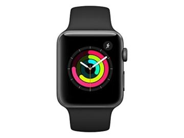 Apple Watch Series 3, 42 mm, GPS, Aluminium Gehäuse, Space Grau mit Sport-Armband, Schwarz, 2017 - 2