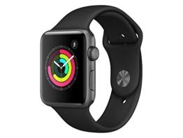 Apple Watch Series 3, 42 mm, GPS, Aluminium Gehäuse, Space Grau mit Sport-Armband, Schwarz, 2017 - 1