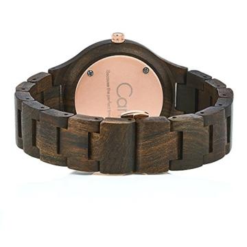 Cari Damen und Herren Holz Armbanduhr Oslo - Sandelholz mit Schweizer Uhrwerk und Saphirglas - 2