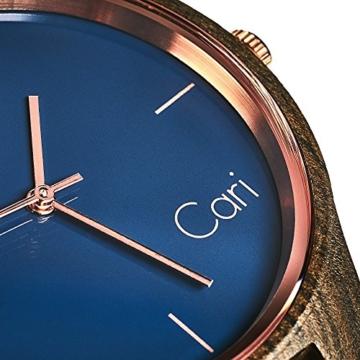 Cari Damen und Herren Holz Armbanduhr Oslo - Sandelholz mit Schweizer Uhrwerk und Saphirglas - 3