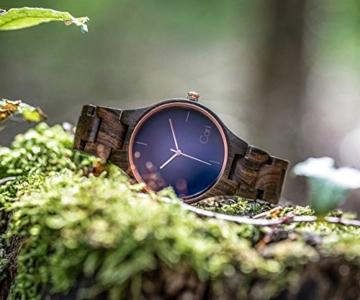 Cari Damen und Herren Holz Armbanduhr Oslo - Sandelholz mit Schweizer Uhrwerk und Saphirglas - 6