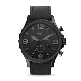 Fossil Herren Armbanduhr Nate - mit Lederarmband / Analoguhr mit Chronographen-Funktion & Datumsanzeige - 10 bar Wasserdichtigkeit - 1