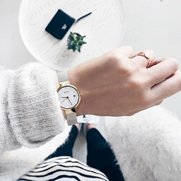 Bering Damen Analog Solar Uhr mit Edelstahl Armband 14426-010 - 5