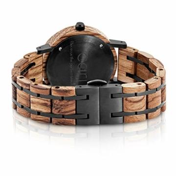 Cari Damen & Herren Holzuhr 38mm - Schiefer Holz-Armbanduhren aus Zebrano, Padouk und Ebenholz - 2
