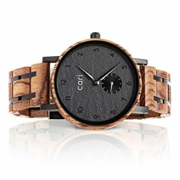 Cari Damen & Herren Holzuhr 38mm - Schiefer Holz-Armbanduhren aus Zebrano, Padouk und Ebenholz - 1