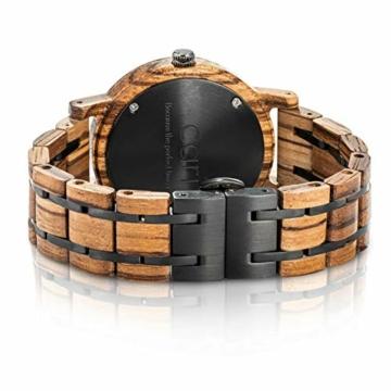 Cari Damen & Herren Holzuhr 40mm - Holz-Armbanduhren aus Zebrano, Padouk, Leadwood und Koa Holz (Zebrano Holz (Modell Edinburgh)) - 2