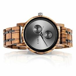 Cari Damen & Herren Holzuhr 40mm - Holz-Armbanduhren aus Zebrano, Padouk, Leadwood und Koa Holz (Zebrano Holz (Modell Edinburgh)) - 1