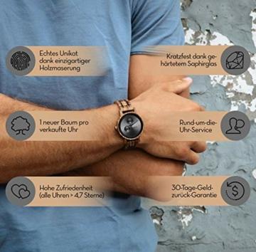 Cari Damen & Herren Holzuhr 40mm - Holz-Armbanduhren aus Zebrano, Padouk, Leadwood und Koa Holz (Zebrano Holz (Modell Edinburgh)) - 4