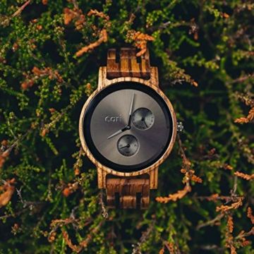 Cari Damen & Herren Holzuhr 40mm - Holz-Armbanduhren aus Zebrano, Padouk, Leadwood und Koa Holz (Zebrano Holz (Modell Edinburgh)) - 6