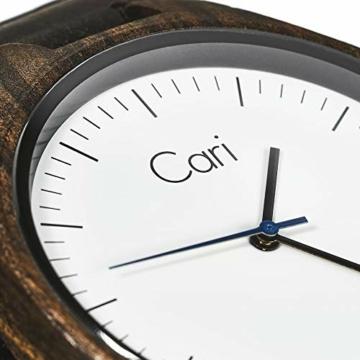Cari Damen & Herren Holzuhr 40mm mit Schweizer Uhrwerk - Holz-Armbanduhr Berlin-031 (Sandelholz braun) - 2