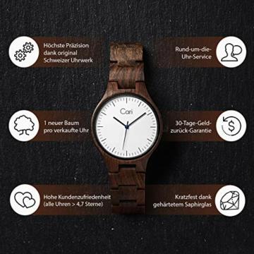 Cari Damen & Herren Holzuhr 40mm mit Schweizer Uhrwerk - Holz-Armbanduhr Berlin-031 (Sandelholz braun) - 3