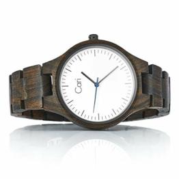 Cari Damen & Herren Holzuhr 40mm mit Schweizer Uhrwerk - Holz-Armbanduhr Berlin-031 (Sandelholz braun) - 1