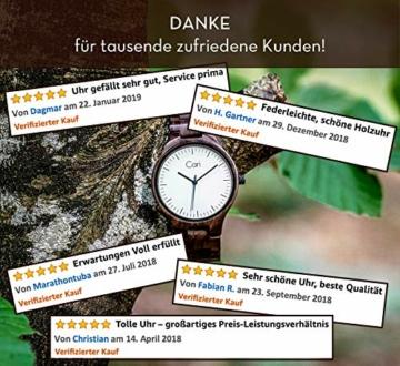 Cari Damen & Herren Holzuhr 40mm mit Schweizer Uhrwerk - Holz-Armbanduhr Berlin-031 (Sandelholz braun) - 6