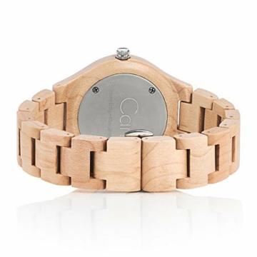 Cari Damen & Herren Holzuhr 40mm mit Schweizer Uhrwerk - Holz-Armbanduhr Stockholm-021 (Ahornholz beige) - 2