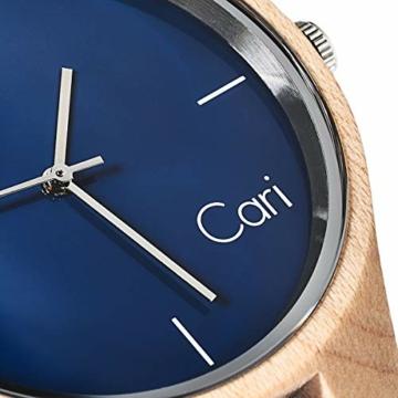 Cari Damen & Herren Holzuhr 40mm mit Schweizer Uhrwerk - Holz-Armbanduhr Stockholm-021 (Ahornholz beige) - 3