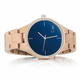 Cari Damen & Herren Holzuhr 40mm mit Schweizer Uhrwerk - Holz-Armbanduhr Stockholm-021 (Ahornholz beige) - 1