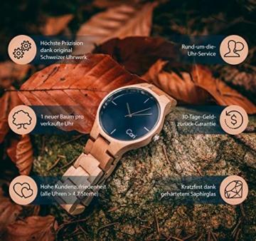 Cari Damen & Herren Holzuhr 40mm mit Schweizer Uhrwerk - Holz-Armbanduhr Stockholm-021 (Ahornholz beige) - 4