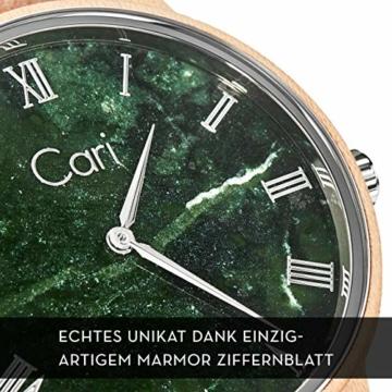 Cari Damen & Herren Holzuhr mit Schweizer Uhrwerk - Holz-Armbanduhr Dublin-111 (Ahornholz beige) - 2