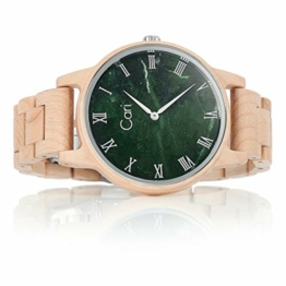 Cari Damen & Herren Holzuhr mit Schweizer Uhrwerk - Holz-Armbanduhr Dublin-111 (Ahornholz beige) - 1
