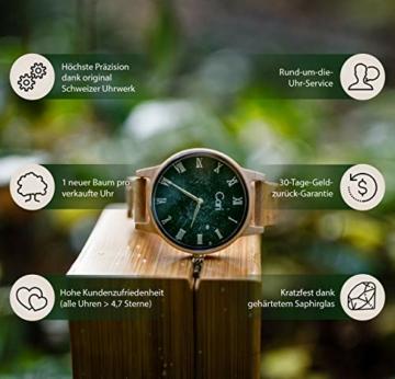 Cari Damen & Herren Holzuhr mit Schweizer Uhrwerk - Holz-Armbanduhr Dublin-111 (Ahornholz beige) - 4