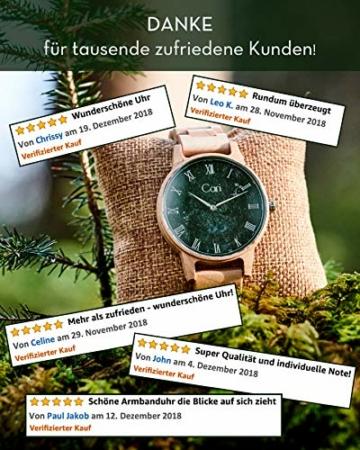 Cari Damen & Herren Holzuhr mit Schweizer Uhrwerk - Holz-Armbanduhr Dublin-111 (Ahornholz beige) - 6