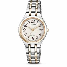 CITIZEN Damen Analog Solar Uhr mit Edelstahl Armband EW2486-87A - 1
