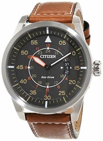 Citizen Herren Analog Quarz Uhr mit Leder Armband AW1360-12H - 1
