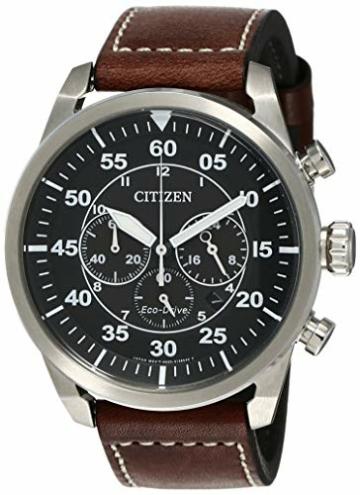 CITIZEN Herren Chronograph Quarz Uhr mit Leder Armband CA4210-16E - 1