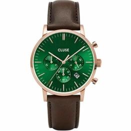 Cluse Herren-Uhren Analog Quarz One Size Braun/grün Kalbsleder 32010372 - 1