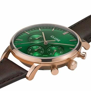 Cluse Herren-Uhren Analog Quarz One Size Braun/grün Kalbsleder 32010372 - 2