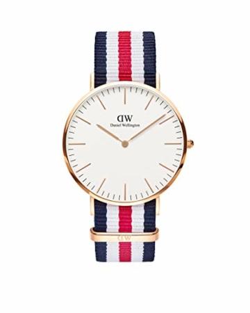 Daniel Wellington Classic Canterbury, Blau-Weiß-Rot/Roségold Uhr, 36mm, NATO, für Damen und Herren - 1