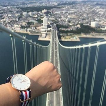 Daniel Wellington Classic Canterbury, Blau-Weiß-Rot/Roségold Uhr, 36mm, NATO, für Damen und Herren - 5