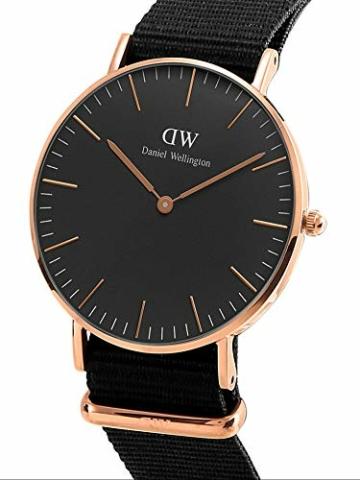 Daniel Wellington Classic Cornwall, Schwarz/Roségold Uhr, 36mm, NATO, für Damen und Herren - 2