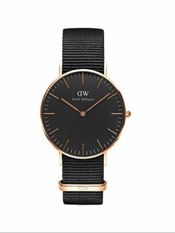 Daniel Wellington Classic Cornwall, Schwarz/Roségold Uhr, 36mm, NATO, für Damen und Herren - 1