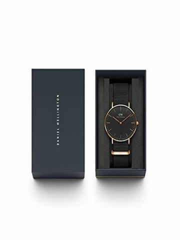 Daniel Wellington Classic Cornwall, Schwarz/Roségold Uhr, 36mm, NATO, für Damen und Herren - 5