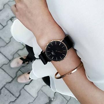 Daniel Wellington Classic Cornwall, Schwarz/Roségold Uhr, 36mm, NATO, für Damen und Herren - 6
