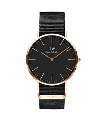 Daniel Wellington Classic Cornwall, Schwarz/Roségold Uhr, 40mm, NATO, für Herren - 1