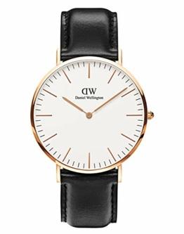 Daniel Wellington Classic Sheffield, Schwarz/Roségold Uhr, 40mm, Leder, für Herren - 1