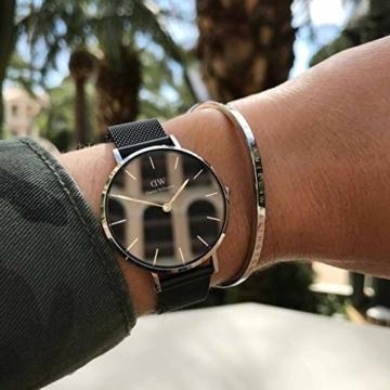 Daniel Wellington Petite Ashfield, Schwarz/Silber Uhr, 28mm, Mesh, für Damen - 7