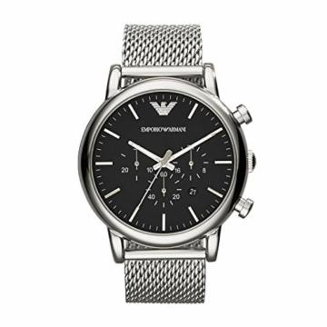 Emporio Armani Herren Chronograph Quarz Uhr mit Edelstahl Armband AR1808 - 1