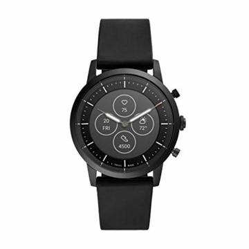 Fossil Herren Hybrid Smartwatch Collider HR Silikon Schwarz - 1