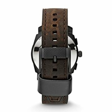 FOSSIL - Maschinen mittelgroßer Chronograph Braun Leder Edelstahl Uhr Stoppuhr und Timer-Funktionalität - FS4656 - 3