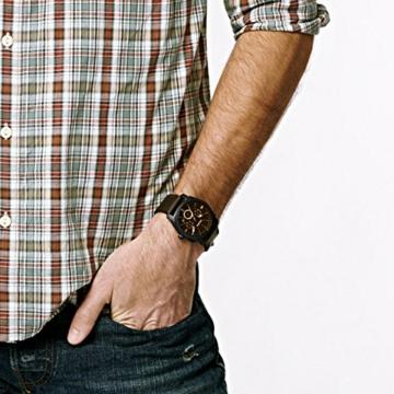 FOSSIL - Maschinen mittelgroßer Chronograph Braun Leder Edelstahl Uhr Stoppuhr und Timer-Funktionalität - FS4656 - 5