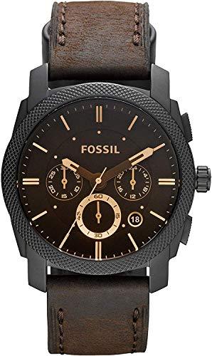 FOSSIL - Maschinen mittelgroßer Chronograph Braun Leder Edelstahl Uhr Stoppuhr und Timer-Funktionalität - FS4656 - 1