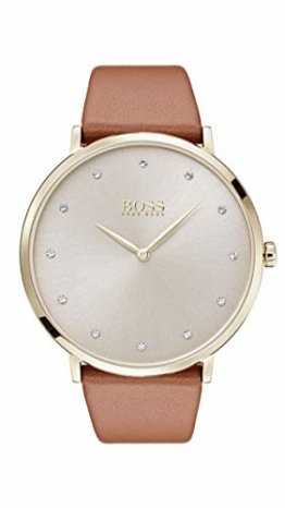 Hugo Boss Damen Datum klassisch Quarz Uhr mit Leder Armband 1502411 - 1