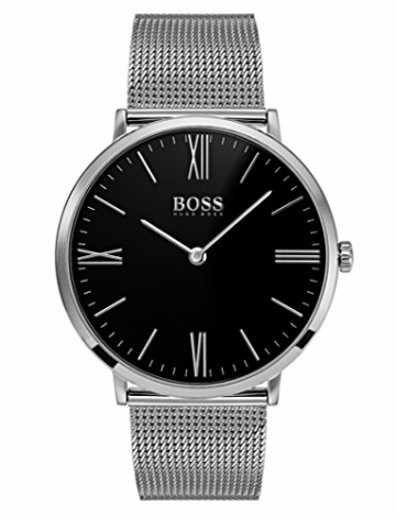 Hugo Boss Herren Datum klassisch Quarz Uhr mit Edelstahl Armband 1513514 - 1