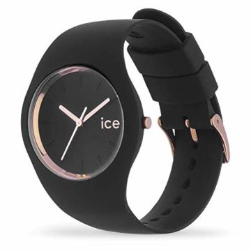 Ice-Watch - ICE glam Black Rose-Gold - Schwarze Damenuhr mit Silikonarmband - 000980 (Medium) - 2