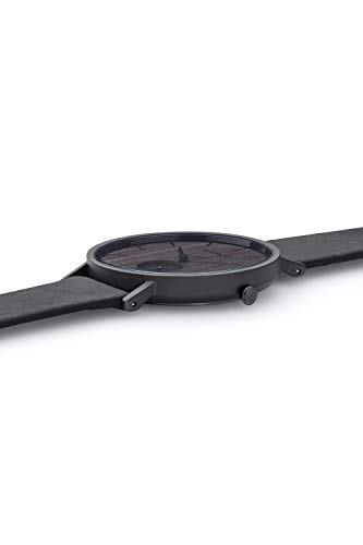 KERBHOLZ Holzuhr – Elements Collection Fritz analoger Unisex Multifunktions Uhr, Naturholz Ziffernblatt, echtes Lederarmband, Ø 40mm, Walnuss Schwarz - 3