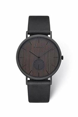 KERBHOLZ Holzuhr – Elements Collection Fritz analoger Unisex Multifunktions Uhr, Naturholz Ziffernblatt, echtes Lederarmband, Ø 40mm, Walnuss Schwarz - 1