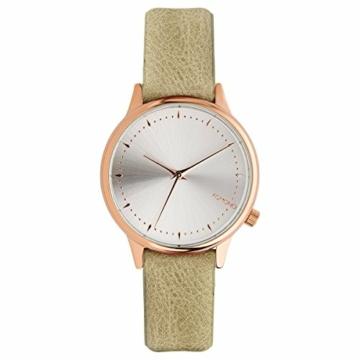 Komono Damen-Armbanduhr Analog Quarz One Size, silberfarben, grün - 1